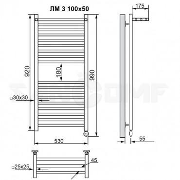 Полотенцесушитель электрический масляный Ника Modern ЛМ 3 черный