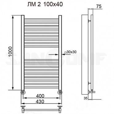 Полотенцесушитель водяной ПК Ника (Nika) Modern ЛМ 2 белый matt