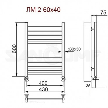 Полотенцесушитель водяной ПК Ника (Nika) Modern ЛМ 2