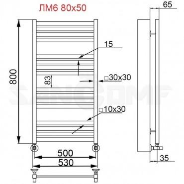 Полотенцесушитель водяной ПК Ника (Nika) Modern ЛМ 6 80x50 черный