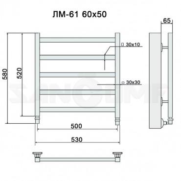 Полотенцесушитель водяной Ника Modern ЛМ-61 хром