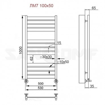Полотенцесушитель водяной ПК Ника (Nika) Modern ЛМ 7 100x50 белый (RAL 9016)