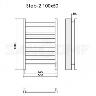 Полотенцесушитель электрический Ника Step-2 100x50 белый RAL9016