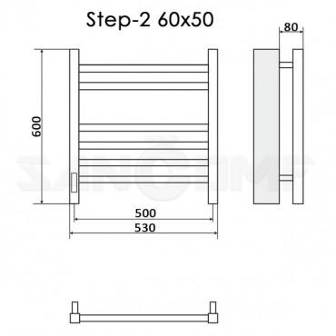 Полотенцесушитель электрический Ника Step-2 60x50 черный RAL9005