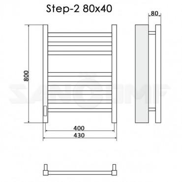 Полотенцесушитель электрический Ника Step-2 80x40 черный RAL9005