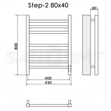 Полотенцесушитель электрический Ника Step-2 80x40 белый RAL9016