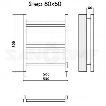 Полотенцесушитель электрический Ника Step-2 80x50 черный RAL9005