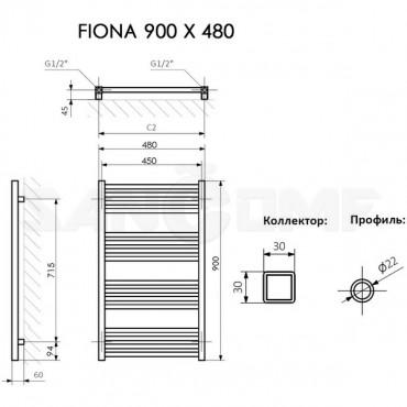 Полотенцесушитель электрический Terma Fiona белый матовый RAL 9016