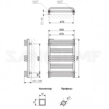 Полотенцесушитель электрический Terma Pola 78x50 белый матовый - тэн приобретается дополнительно