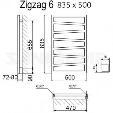 Полотенцесушитель электрический Terma Zigzag белый