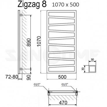 Полотенцесушитель электрический Terma Zigzag черный