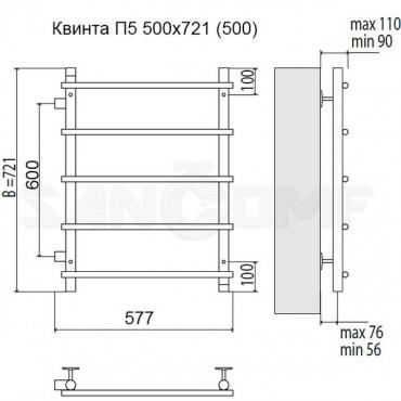 Водяной полотенцесушитель Terminus Квинта П5 500x696 (боковое подключение)