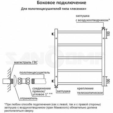 Водяной полотенцесушитель Terminus Евромикс П8 500x796 (500) боковое подключение