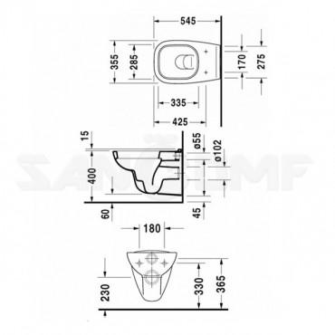 Duravit D-Code подвесной унитаз