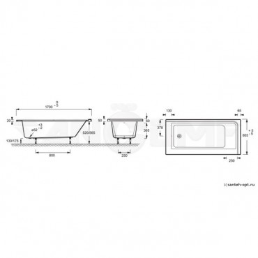 Акриловая ванна Jacob Delafon Formilia 170х80 левосторонняя