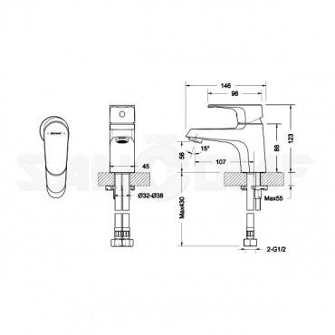 Смеситель для раковины Bravat Alfa F1120178CP