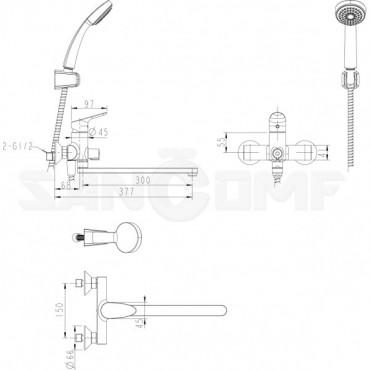 Смеситель Bravat Drop F64898C-LB универсальный