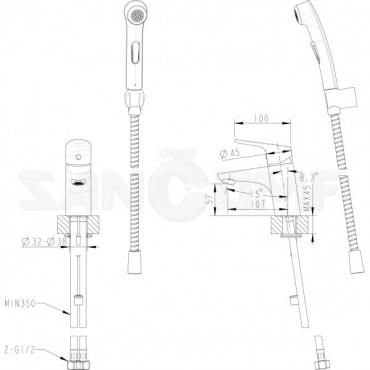 Смеситель Bravat Drop F14898C-2 для раковины с гигиеническим душем