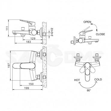Смеситель Bravat Eler F6191238CP-01 для ванны с душем