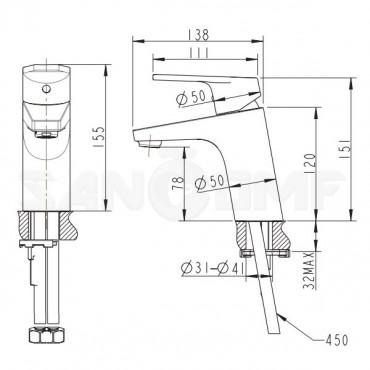 Смеситель Bravat Line F15299C-1 для раковины