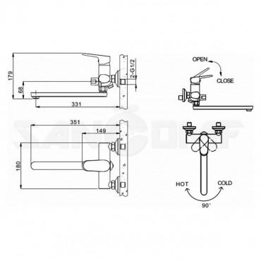 Смеситель Bravat Pure F6105161C-01A универсальный