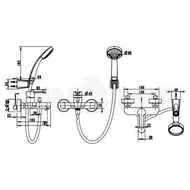 Смеситель Bravat Stream F63783C-B для ванны с душем