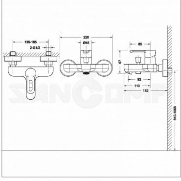 Смеситель Bravat Stream-D F637163C-B для ванны