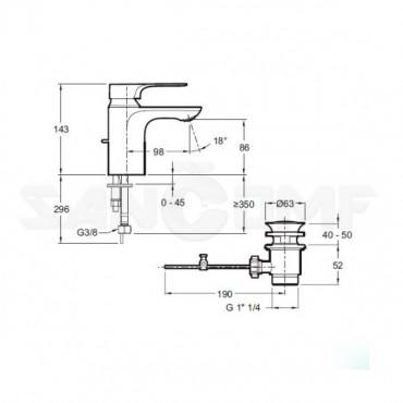 Jacob Delafon Aleo+ E72312-CP смеситель для раковины