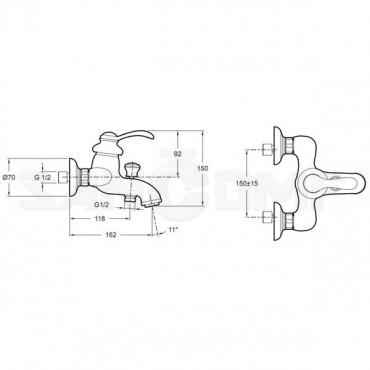 Jacob Delafon Fairfax E71090-CP смеситель для ванны с душем