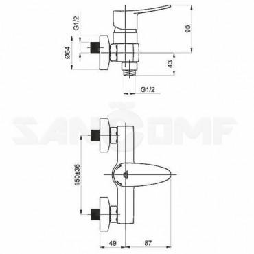 Смеситель для душа Rubineta Static-12/K A20A08N