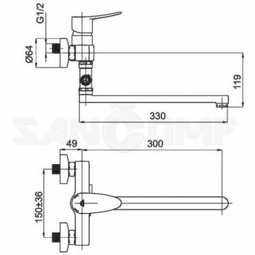 Смеситель для ванны с душем Rubineta Static-12/C