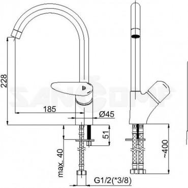 Смеситель для кухонной мойки Rubineta Static-33 A30008