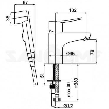 Смеситель для раковины Rubineta Static-17 с гигиеническим душем