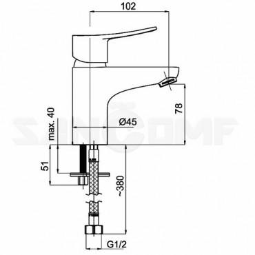 Смеситель Rubineta Static-18 A80008 для раковины