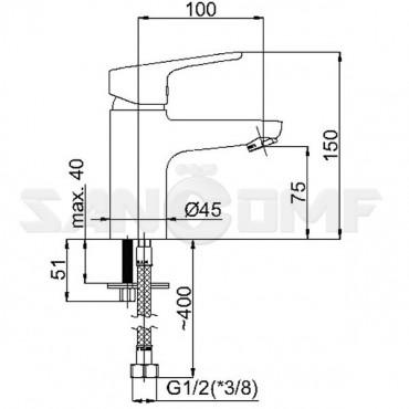 Смеситель для раковины Rubineta Uno-18 WT N80071