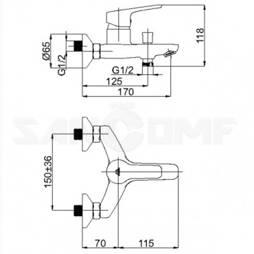Смеситель для ванны с душем Rubineta Uno-10 WT N10071