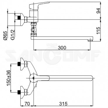 Смеситель для ванны с душем Rubineta Uno-12/C N2CD01