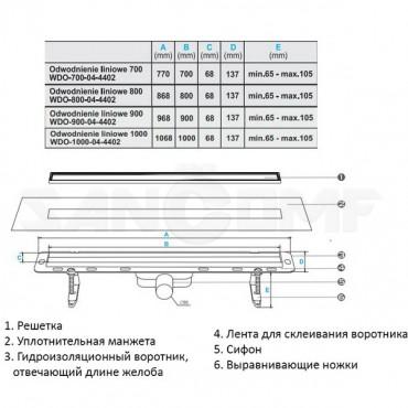 Душевой лоток с решеткой Winkiel Ekoline Conti 700; 800; 900; 1000 мм