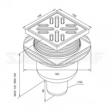 Душевой трап Winkiel Rawiplas C107N вертикальный