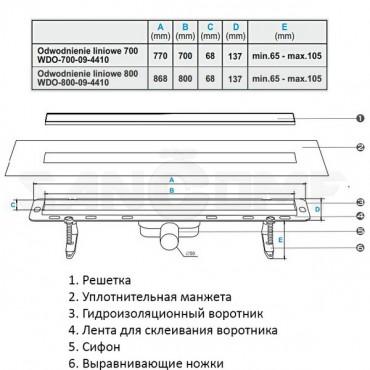 Душевой лоток Winkiel Ekoline Vetro White 700; 800 мм с стеклянной решеткой