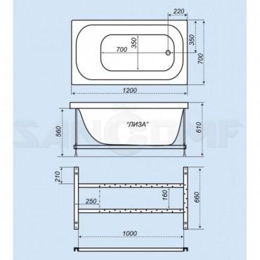 Тритон Лиза 1200Х700 акриловая ванна