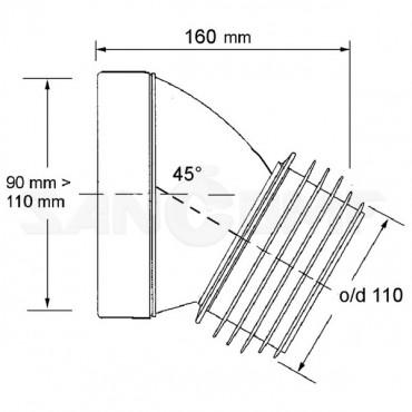Труба фановая McAlpine MRWC16 длина 16 см, 45°