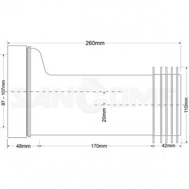 Фановая труба McAlpine MRWC7 260, со смещением 20 мм