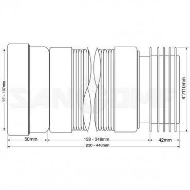 Гофра для унитаза Mcalpine WC-F23 R 230 мм