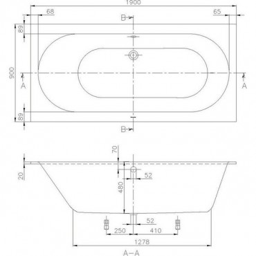 Villeroy & Boch Oberon 190Х90 ванна из литьевого мрамора