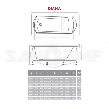 Акриловая ванна Alpen Diana 140x70