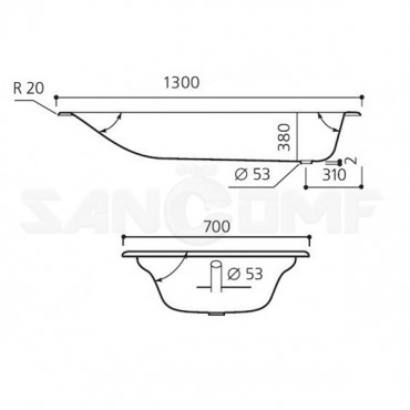 Goldman 130X70 чугунная ванна