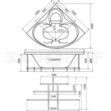 Тритон Сабина 1600Х1600 акриловая ванна
